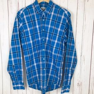 Steven Alan Mens Blue Check Button Front Slim Fit